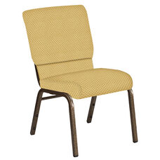 Embroidered 18.5''W Church Chair in Canterbury Taupe Fabric - Gold Vein Frame