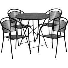 """Commercial Grade 30"""" Round Black Indoor-Outdoor Steel Folding Patio Table Set with 4 Round Back Chairs"""