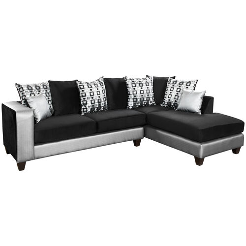 Our Riverstone Implosion Black Velvet Sectional with Black & Shimmer Steel Frame is on sale now.