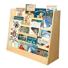 Birch Single Sided Book Display with Five Easy Reach Shelves - Natural