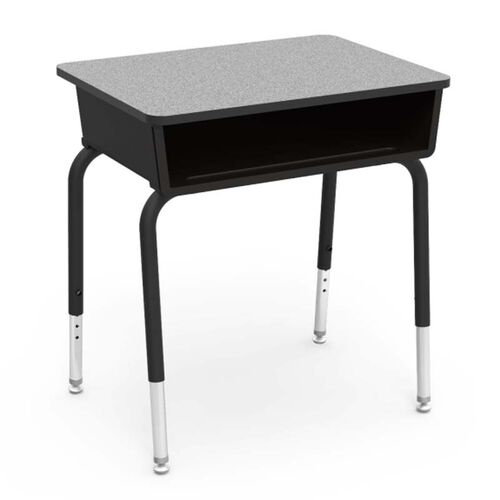 Our Quick Ship 785 Series Gray Nebula Laminate Top Student Desk with Black Open Front Plastic Book Box, Edge, and Frame - 18