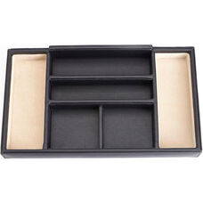 Dresser Valet Tray with Suede Lining - Brown