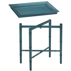 OSP Designs Salem Folding Serving Tray with Solid Wood Legs - Blue