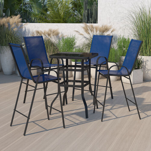 Outdoor Dining Set - 4-Person Bistro Set - Outdoor Glass Bar Table with Navy All-Weather Patio Stools