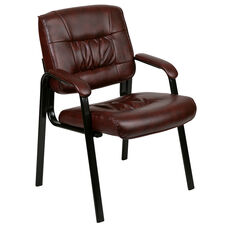 Burgundy LeatherSoft Antimicrobial / Antibacterial Medical Side Chair with Black Metal Frame