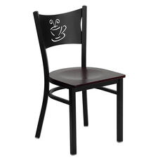 Black Coffee Back Metal Restaurant Chair with Mahogany Wood Seat