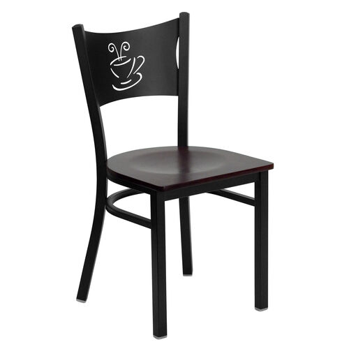 Our Black Coffee Back Metal Restaurant Chair with Mahogany Wood Seat is on sale now.