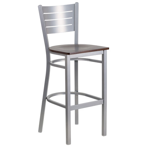 Our Silver Slat Back Metal Restaurant Barstool with Walnut Wood Seat is on sale now.