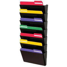 Stacked 7 Pocket Wall Mounted File Letter Holder - Black
