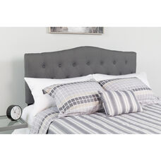 Cambridge Tufted Upholstered King Size Headboard in Dark Gray Fabric