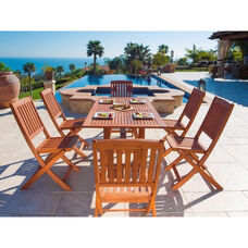 Malibu 7 Piece Outdoor Wood Dining Set with Curvy Leg Table and 6 Folding Chairs
