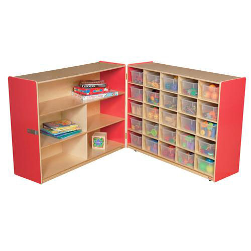 Our Half & Half Red Storage Shelf Unit with Rolling Casters and Twenty Five Clear Cubby Trays - 96