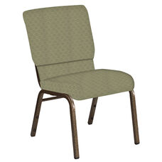 Embroidered 18.5''W Church Chair in Arches Moss Fabric - Gold Vein Frame