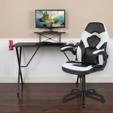 BlackArc Black Gaming Desk and White/Black Racing Chair Set with Cup Holder, Headphone Hook, and Monitor/Smartphone Stand