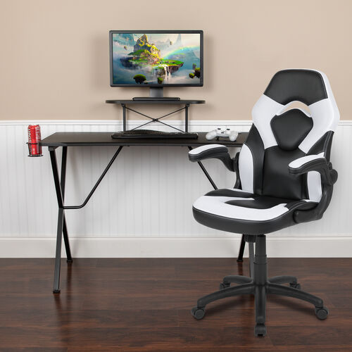 Our BlackArc Black Gaming Desk and White/Black Racing Chair Set with Cup Holder, Headphone Hook, and Monitor/Smartphone Stand is on sale now.