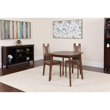 Stonington 3 Piece Walnut Wood Dining Table Set with Curved Slat Wood Dining Chairs - Padded Seats