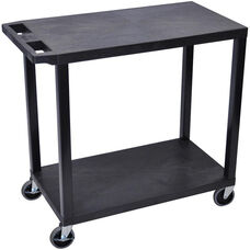 Molded Thermoplastic Resin 2 Flat Shelf Utility Cart with 4