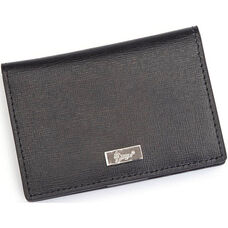 RFID Blocking Id Card Case Wallet - Saffiano Genuine Leather - Black