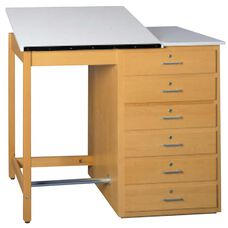Large Drawer Base Drawing Table with Two-Piece Top