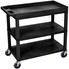Molded Thermoplastic Resin 2 Flat/1 Tub Shelf Utility Cart with 4