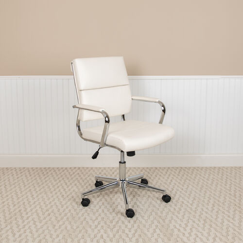 Our Mid-Back White LeatherSoft Contemporary Panel Executive Swivel Office Chair is on sale now.