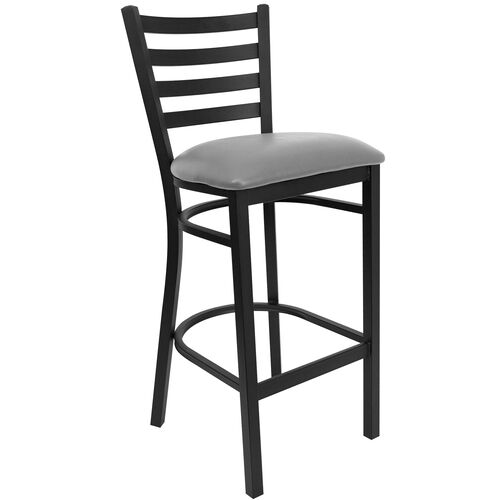 Our HERCULES Series Black Ladder Back Metal Restaurant Barstool - Custom Upholstered Seat is on sale now.