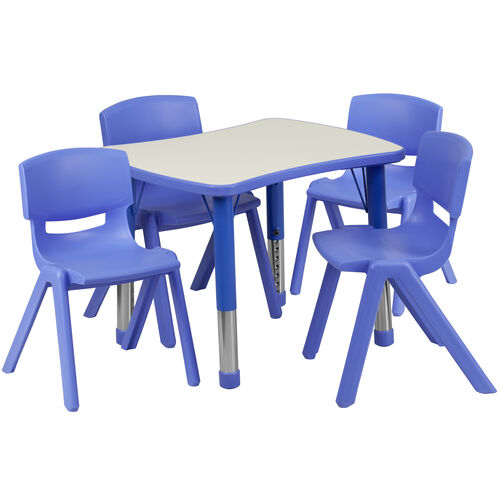 """Our 21.875""""W x 26.625""""L Rectangular Plastic Height Adjustable Activity Table Set with 4 Chairs is on sale now."""