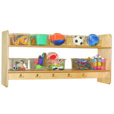 Wall Mountable Storage Shelf Unit with 5 Double Hooks and Ten Clear Trays - Assembled - 48