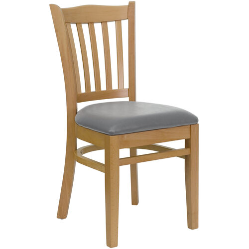 Our Natural Wood Finished Vertical Slat Back Wooden Restaurant Chair with Custom Upholstered Seat is on sale now.