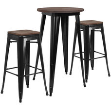 "24"" Round Black Metal Bar Table Set with Wood Top and 2 Backless Stools"