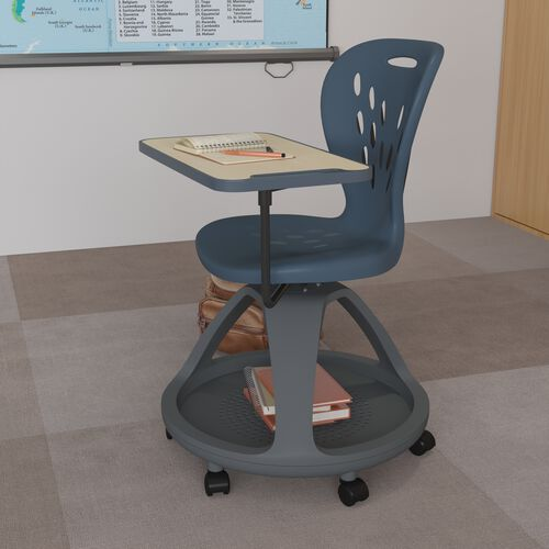 Mobile Desk Chair with 360 Degree Tablet Rotation and Under Seat Storage Cubby