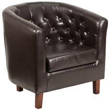 HERCULES Cranford Series Brown Leather Tufted Barrel Chair