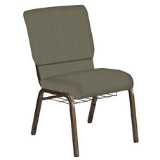 Embroidered 18.5''W Church Chair in Mainframe Pebble Fabric with Book Rack - Gold Vein Frame