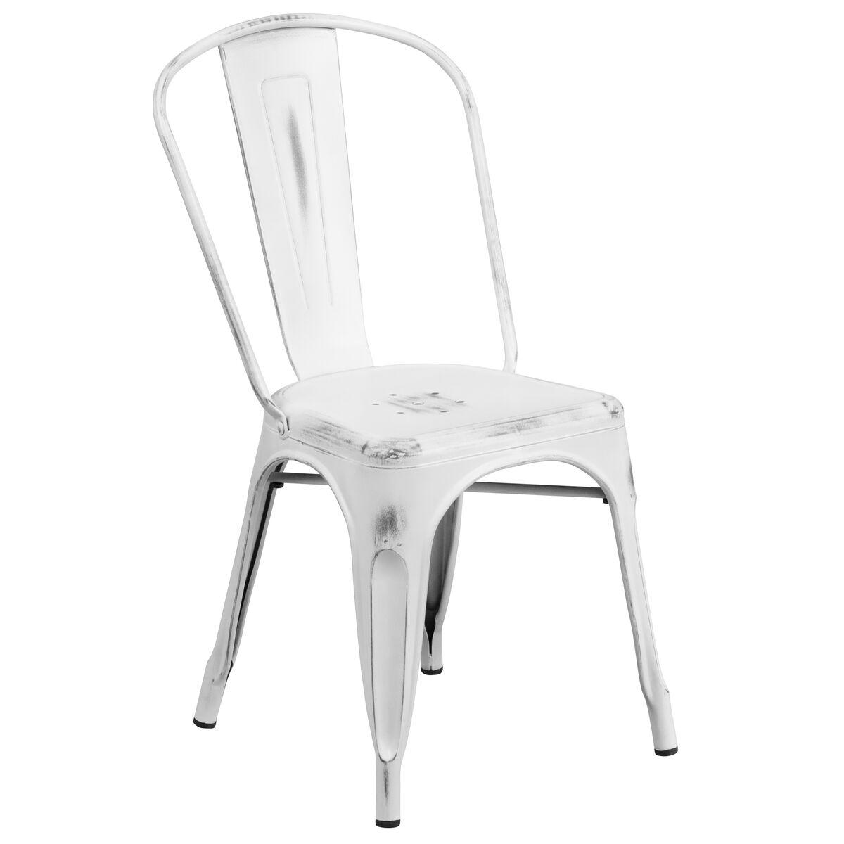 Distressed White Metal Chair Et 3534 Wh Gg Bizchair Com