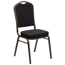 HERCULES Series Crown Back Stacking Banquet Chair in Black Patterned Fabric - Gold Vein Frame
