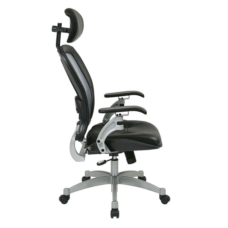 ... Our Space Professional Light Air Grid Back Office Chair With Adjustable  Headrest And Platinum Finish Accents ...