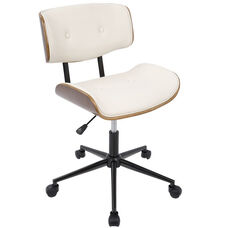 Lombardi Mid-Century Modern Faux Leather Office Chair with Walnut Accents - Cream