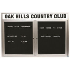 2 Door Outdoor Illuminated Enclosed Directory Board with Header and Aluminum Frame - 48