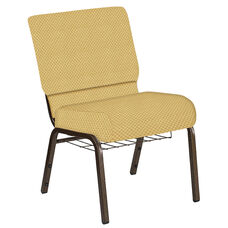 21''W Church Chair in Canterbury Taupe Fabric with Book Rack - Gold Vein Frame