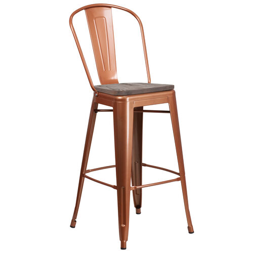 """Our 30"""" High Metal Barstool with Back and Wood Seat is on sale now."""
