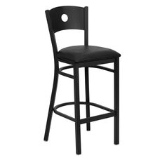 Black Circle Back Metal Restaurant Barstool with Black Vinyl Seat