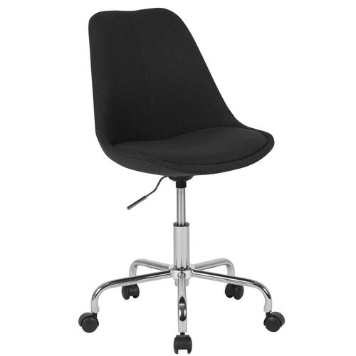 Aurora Series Mid-Back Black Fabric Task Office Chair with Pneumatic Lift and Chrome Base