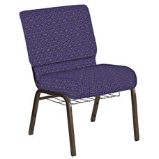 Embroidered 21''W Church Chair in Abbey Jazz Fabric with Book Rack - Gold Vein Frame