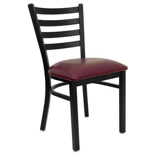 Our HERCULES Series Black Ladder Back Metal Restaurant Chair - Burgundy Vinyl Seat is on sale now.
