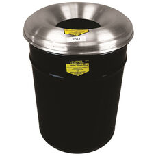 Cease-Fire® Safety Drum 12 Gallon Waste Receptacle with Aluminum Head - Black