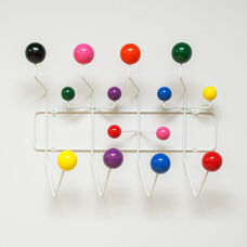 Wall Hanging White Metal Coat Rack with Colored Wood Bubbles