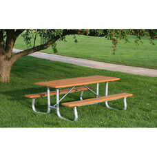 Galvanized Frame 8' Picnic Table with Recycled Plastic Seats
