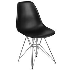 Elon Series Black Plastic Chair with Chrome Base