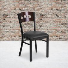 Black Decorative 3 Circle Back Metal Restaurant Chair with Walnut Wood Back & Black Vinyl Seat