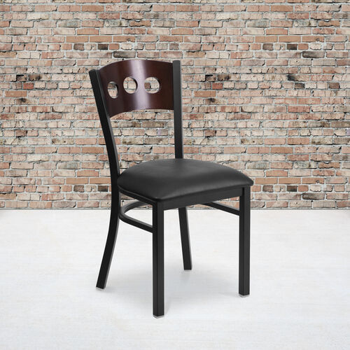 Our Black Decorative 3 Circle Back Metal Restaurant Chair with Walnut Wood Back & Black Vinyl Seat is on sale now.